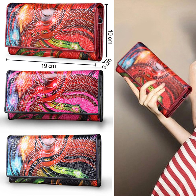 Genuine Leather Women Wallets Lady Purse Long Alligator Wallet Elegant Fashion Female Women Clutch With Card Holder 2