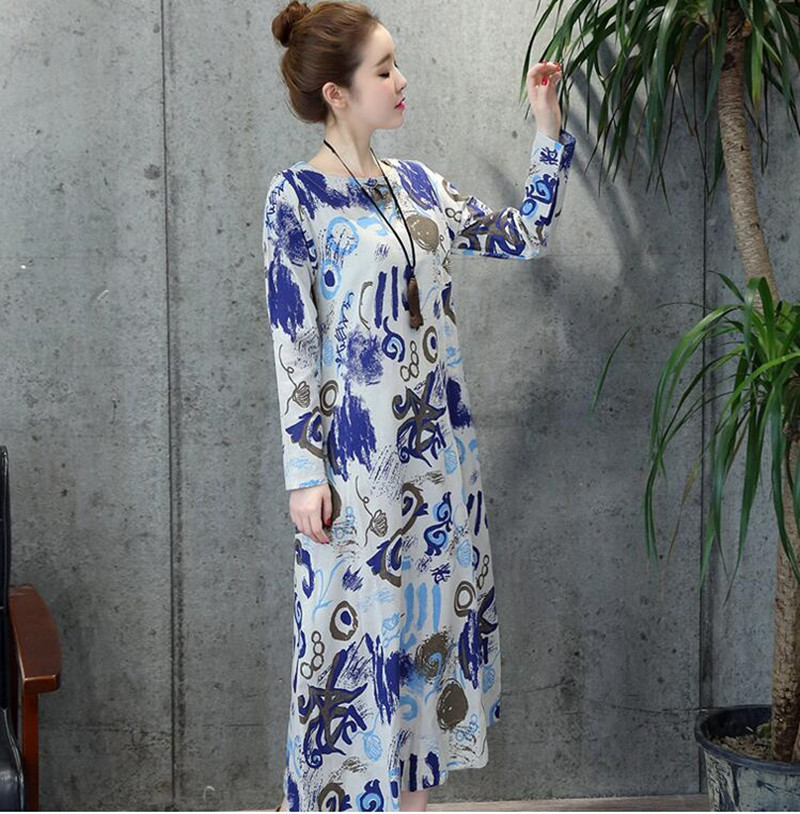 product New2017 Spring Women Dress Vintage Casual Robe Print Long Sleeve Long Dress High Quality Loose Plus Size Cotton Linen Maxi Dress