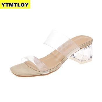 2019 Clear Heels Slippers Women Sandals Summer Shoes Woman Transparent High Pumps Wedding Jelly Buty Damskie Sexy  Square Heels