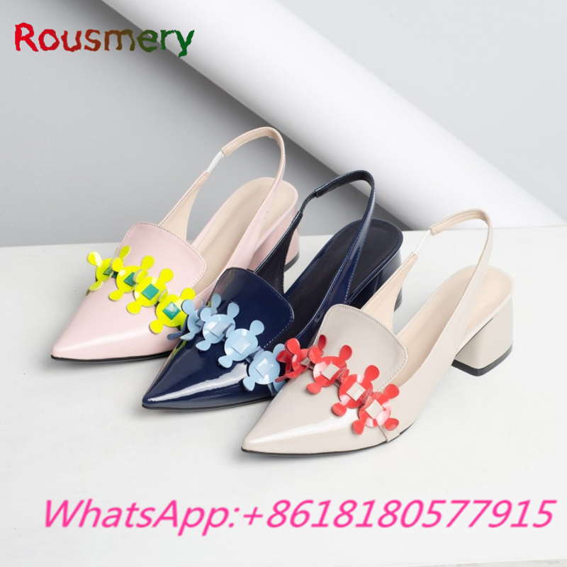 Colorful Chunky High Heels Woman Pumps Spring Autumn Concise Office Lady Zapatos Mujer Tacon Elegant Pointed Toe Woman Shoes