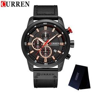 Image 4 - relogio masculino CURREN Men Watch Top Brand Luxury Chronograph Waterproof Sport Male Clock Leather Military New Wristwatch 8291
