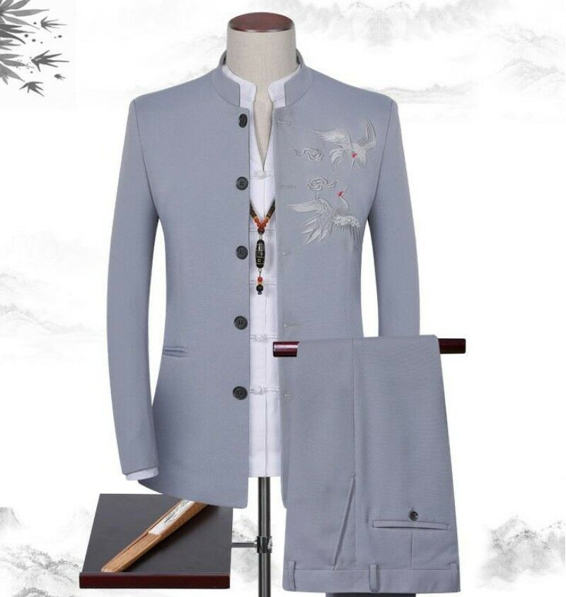 Mens Embroidery Blazers Jacket Stand Collar Formal Jacket Coat Pants 2Pcs Slim Fit Buttons Front Male Set
