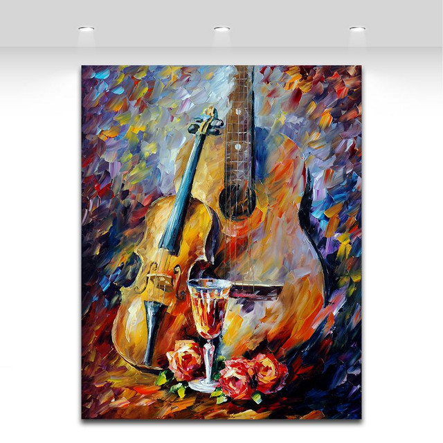 100% Handpainted Music Instrument Oil Painting on Canvas