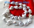 ddh00768 Unusual White & Gray Keshi Keishi Baroque Pearl Necklace 14KGPGP 28% Discount 5.6