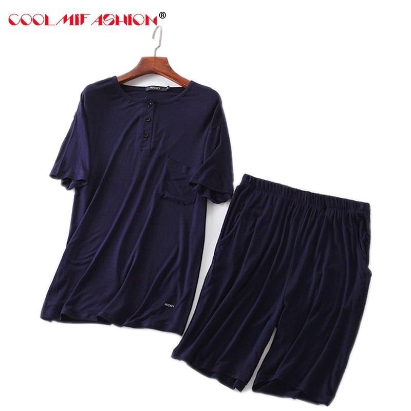 Mens Casual pyjamas Suit Modal Summer Lounge Sleepwear Shorts Bottoms Short Sleeve Shirt Set Pajamas pijama hombre masculino