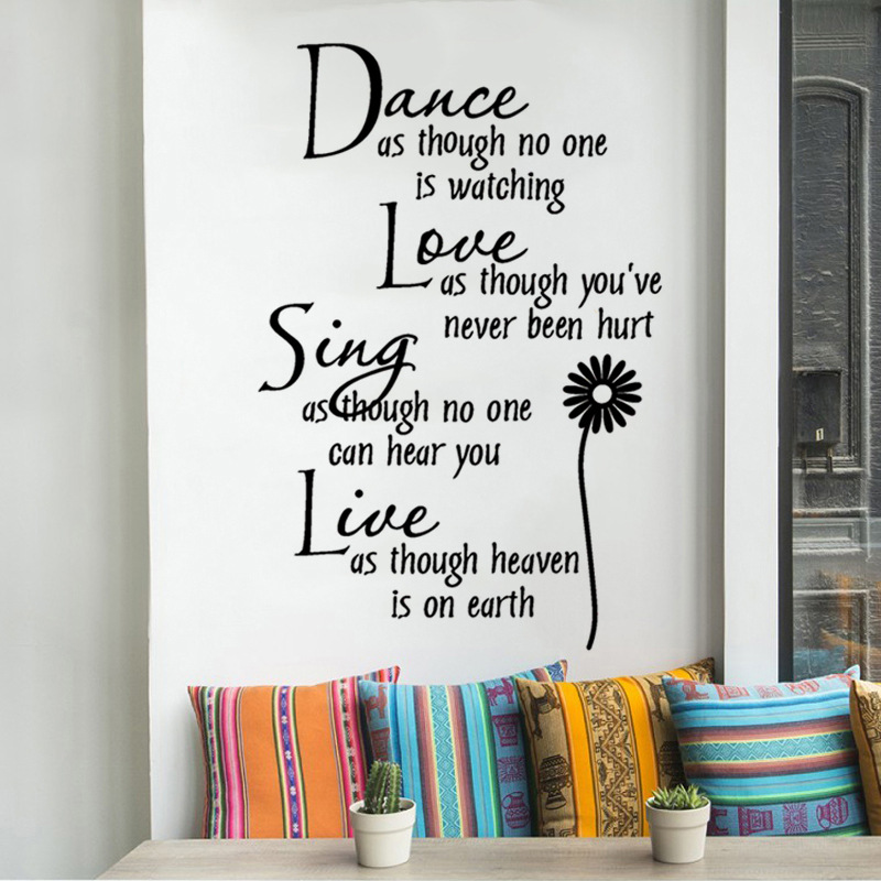 1PCS Black Carved Wall Stickers English Rumor Dance Love Daisy DIY For Living Room Study School Home Decor 70*25CM