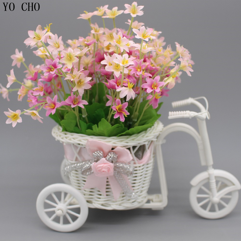 Artificial flower with bike vase Plastic bicycle Basket Storage Container Wedding silk rose Christmas decorations for home