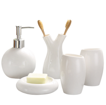 European Style 5Pcs Ceramic Bathroom Toiletries Soap Dispenser Toothbrush Holder Soap Fish Cup Set Bathrooms Accessories LFB283