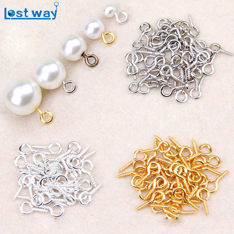 LOST WAY 8/10mm 200pcs/lot Small Sheep Eyes Nail Screw Cheap Silver Gold Color For Beaded Pendant Jewelry Making Accessories 200pcs lot 2sa950 y 2sa950 a950 to 92 transistors