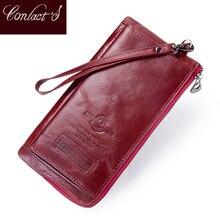 Femme longue porte monnaie en cuir véritable femmes portefeuille grande capacité sac dargent avec poche de téléphone mode porte carte portefeuilles dembrayage