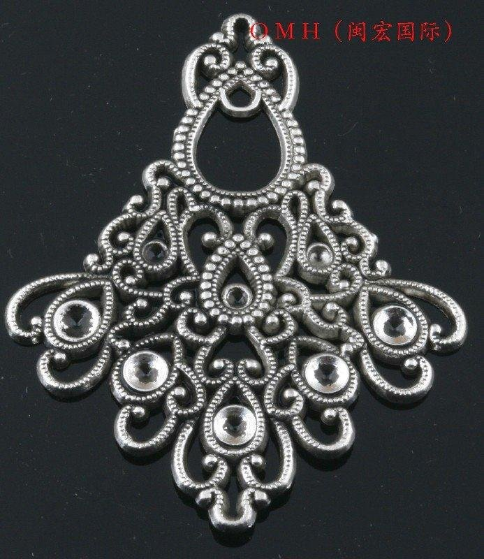 BULK Charms Chandelier Findings Connector Links Antiqued Silver 50 pieces Knot