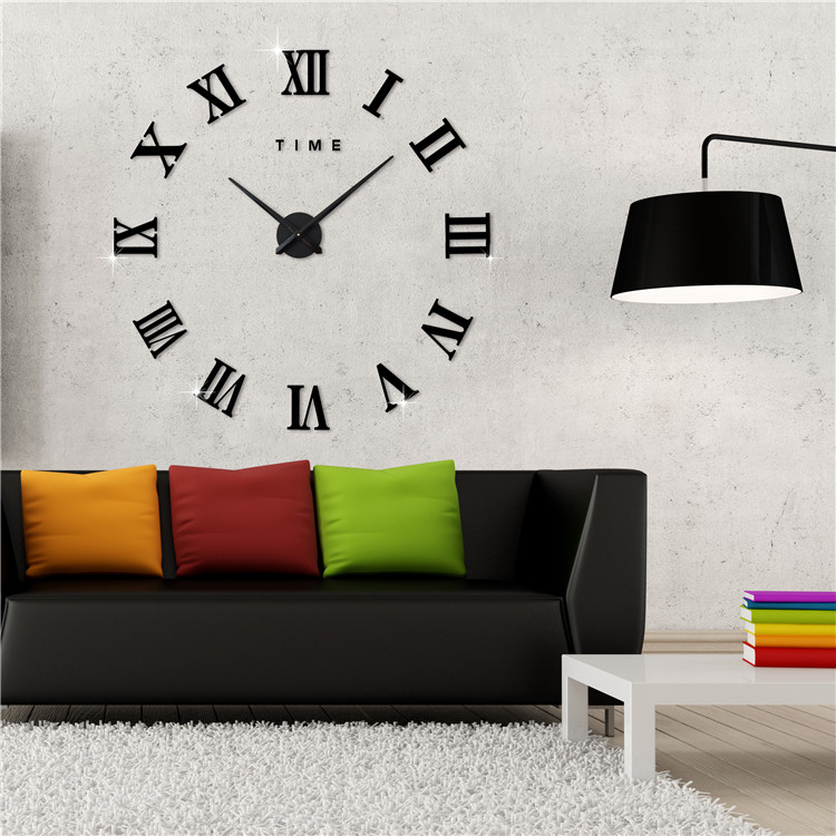 3D DIY Wall Clocks Home Decor Horloge Frameless Roman ...
