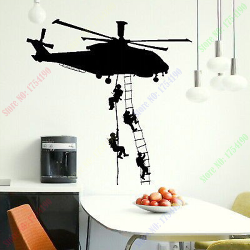 Buy free shipping new helicopter army for Stickers de pared