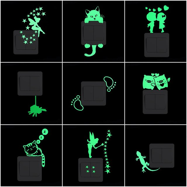 Night Cartoon Luminous Switch Sticker