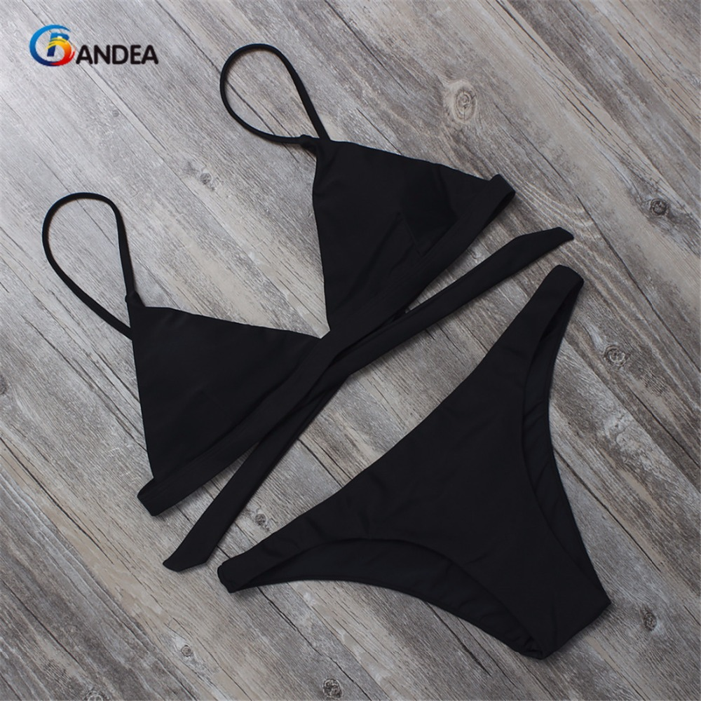 BANDEA Bikini Swimwear Sexy Solid Swimwear Red Black Women Bathing Suits 2019 Low Waist Bikini Thong Panties Swimsuit HA017