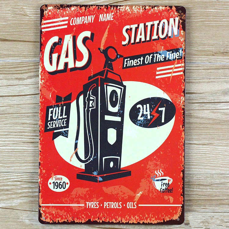 about gas station  UA-0161 vintage home decor metal Tin signs for bar about car wall art craft  Metal plaque  20X30 CM