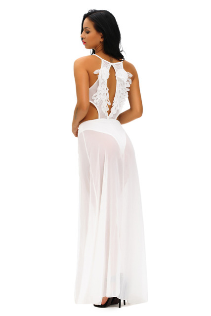 Sleeveless Sexy keyhole back Backless see-through Jumpsuit