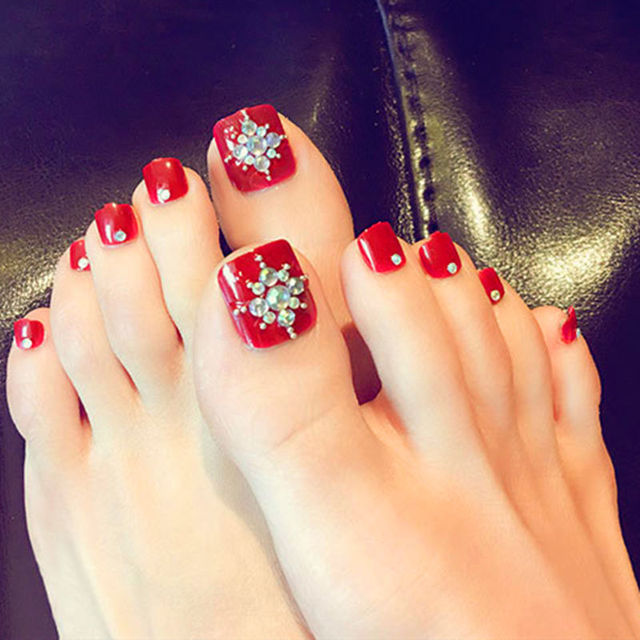 Hot Red Toenail Decals, False Toe Nail Tips, French Manicure, DIY ...