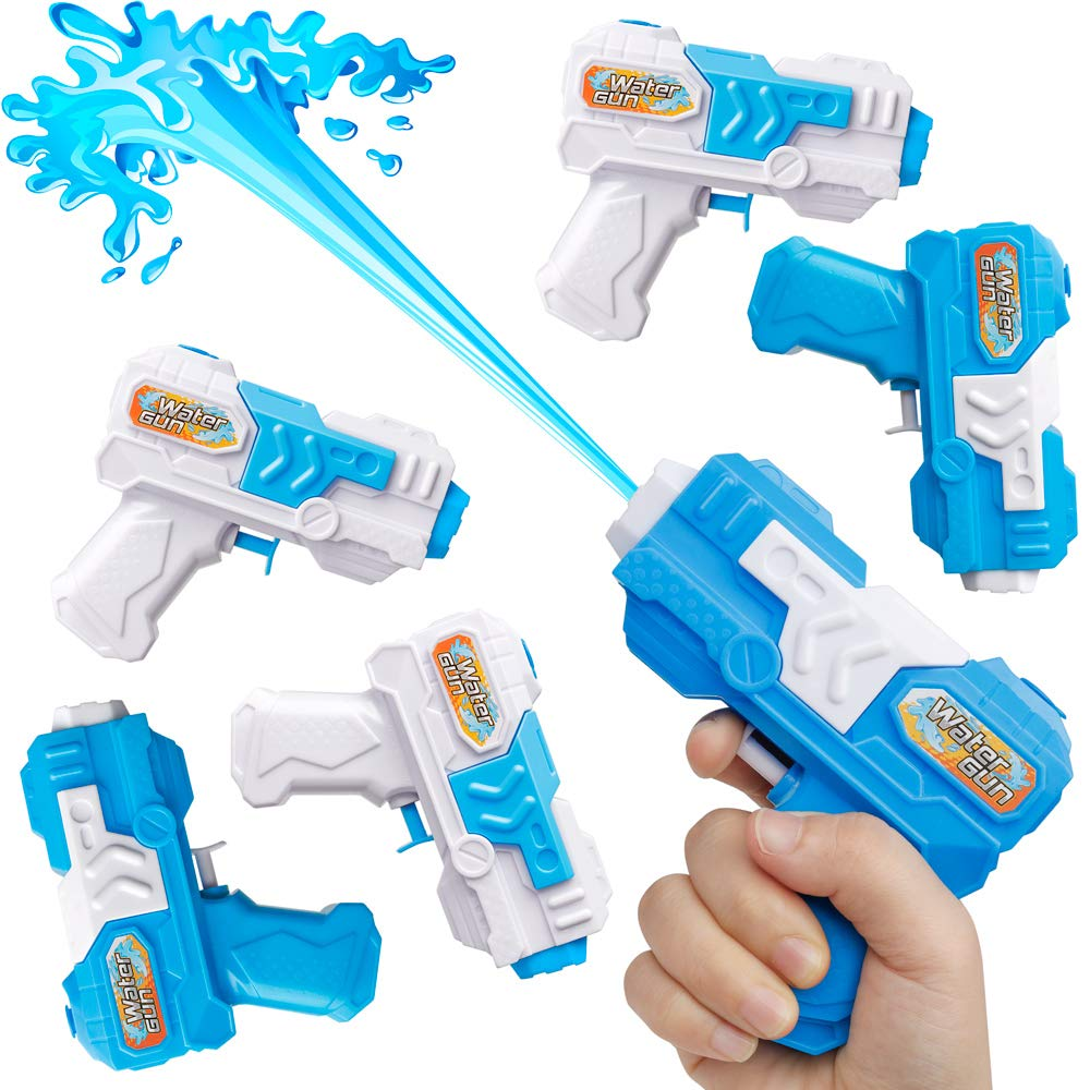 D-FantiX Water Gun 6 Pack Small Water Blaster Soaker Squirt Guns Bulk For Water Fighting Summer Pool Beach Party Favors Toy