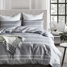 Lace Pattern Grey Stripes Bedding Set Bed Linen Comforter Duvet Cover Sets Pillowcase King Size Adults Bedclothes Home Textiles