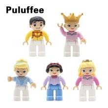 טירת דמות נסיך נסיכת בובת סט לבנים גדול חלקיקי אבני בניין תואם עם Duplo DIY אבזר צעצועי ילד