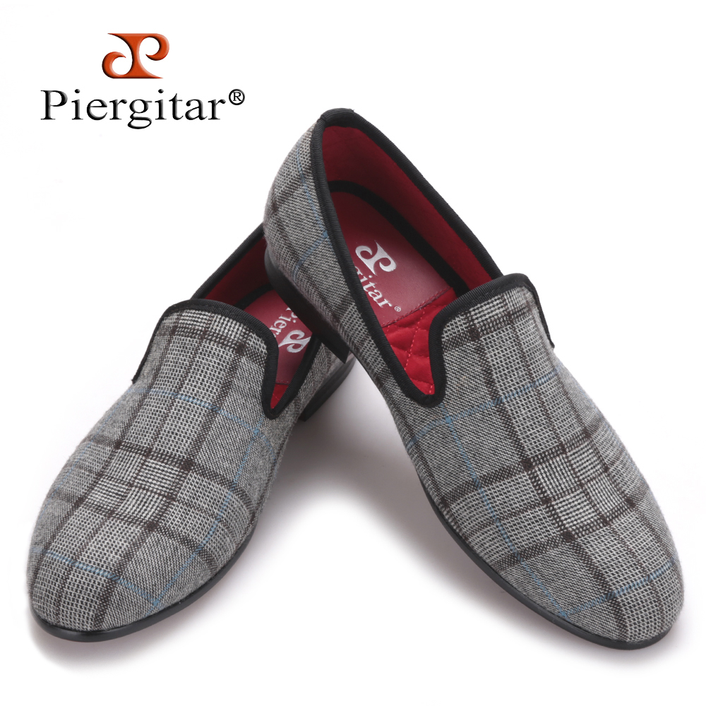 Piergitar New British style Gingham Gray handmade Men's Flats  Men Slip-On party and prom Loafers Men Casual Shoes Size 4-17 piergitar 2016 new india handmade luxurious embroidery men velvet shoes men dress shoes banquet and prom male plus size loafers