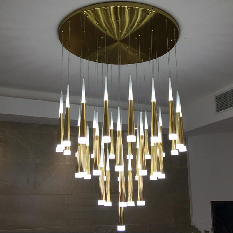 Home LED Aluminum taper chandelier <font><b>light</b></font> for dining room kitchen Mission style gold silver led cone lamp 2017 New Arrival Avize