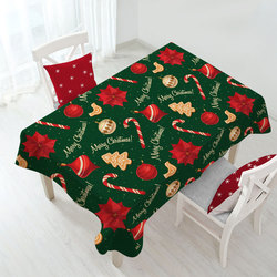 Thickness Rectangle Santa Claus Polyester Dining Table Cover Snowflakes Deer Pattern Waterproof Oilproof Table Cloth Christmas
