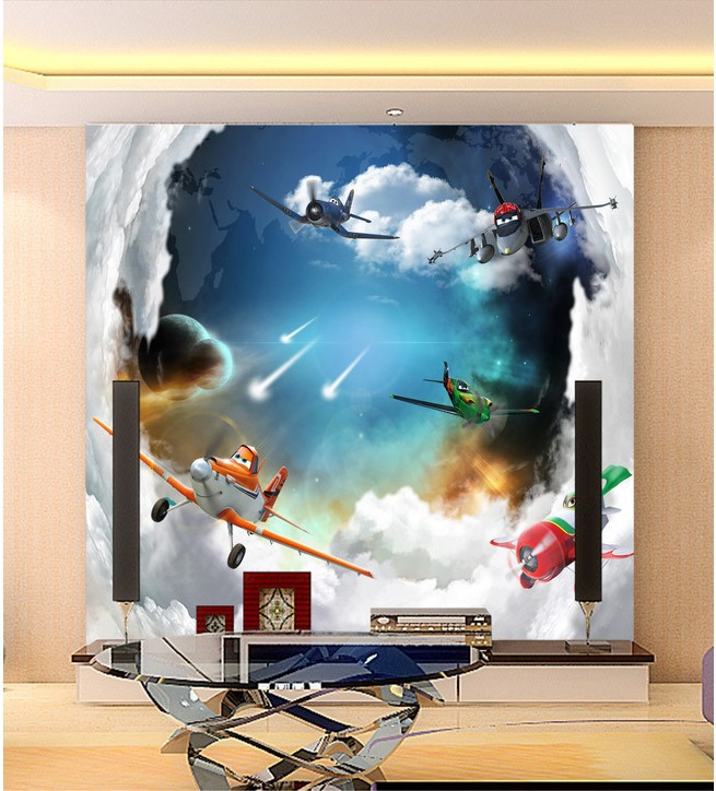 Aircraft general mobilization mural wallpaper 3d wallpaper for Airplane cockpit wall mural