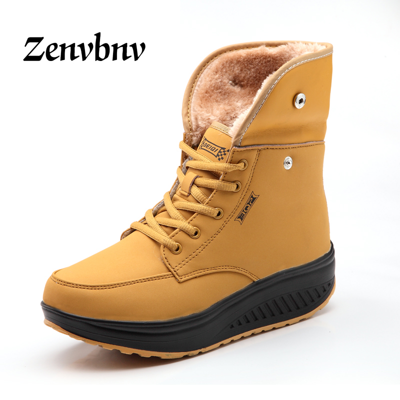 ZENVBNV 2017 Winter Female Plus Velvet Swing Shoes Snow Platform Boots Women Thermal Cotton-padded Shoes 9 style Ankle boots