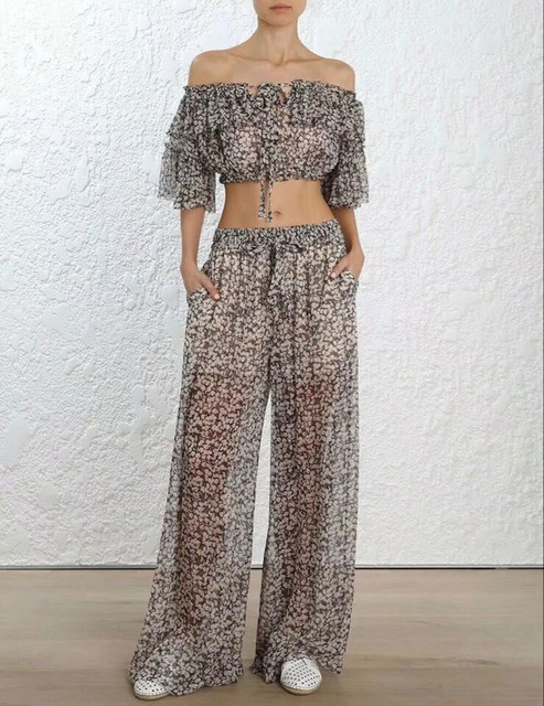 Summer Two Piece Set Silk Short Style Off Shouler Blouses Top and Long Pants Sexy Cherry Print Women Sets
