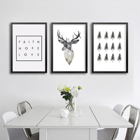 Nordic Deer Grey Poster Print Art Canvas Deer Head Art Printables Geometric Animals Home Decor Frame