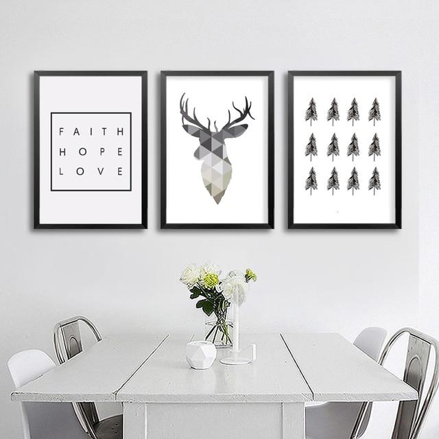 Géométrique Cerf Foi Citation Toile Peinture Nordique Affiche Wall