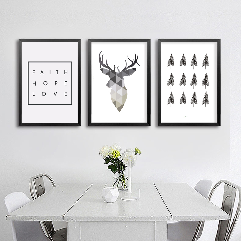 Geometric Deer Faith Citat Pictura Canvas Postere Nordic Poster Art Decoratiuni Decoratiuni Scandinave Poze Camera de zi Decor