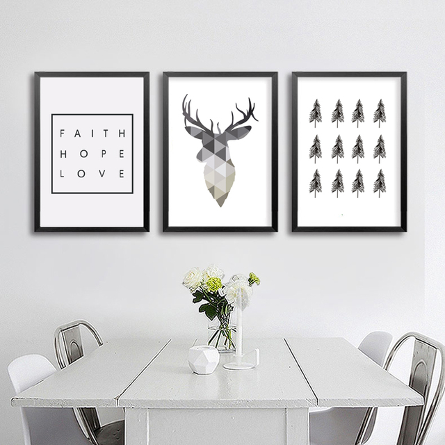 Geometric Deer Faith Quote Canvas Painting Nordic Poster