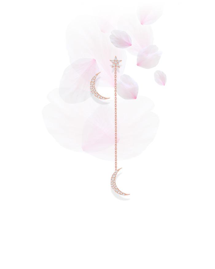 Moon diamond tassel pendant earrings