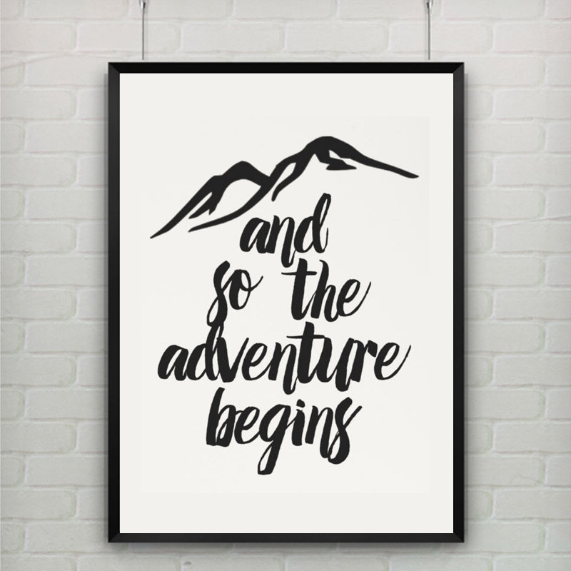 adventure quote mountain canvas painting black white kids. Black Bedroom Furniture Sets. Home Design Ideas