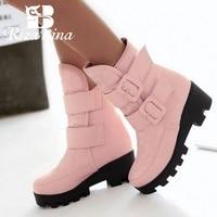 RIZABINA women flat half short boot mid calf warm winter snow boots thickened fur plush botas fashion footwear P22023 size 34 43