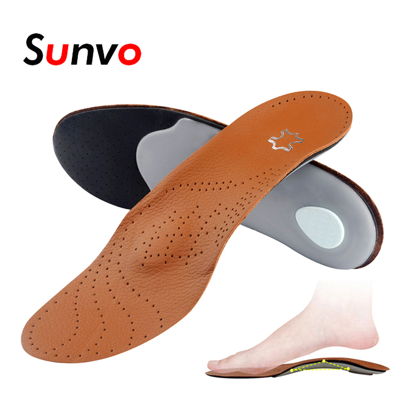 83e839363f Sunvo Leather Orthotic Insoles for Flatfoot Arch Support Orthopedic Silicone  Massage Shoe Pad Men Women Foot