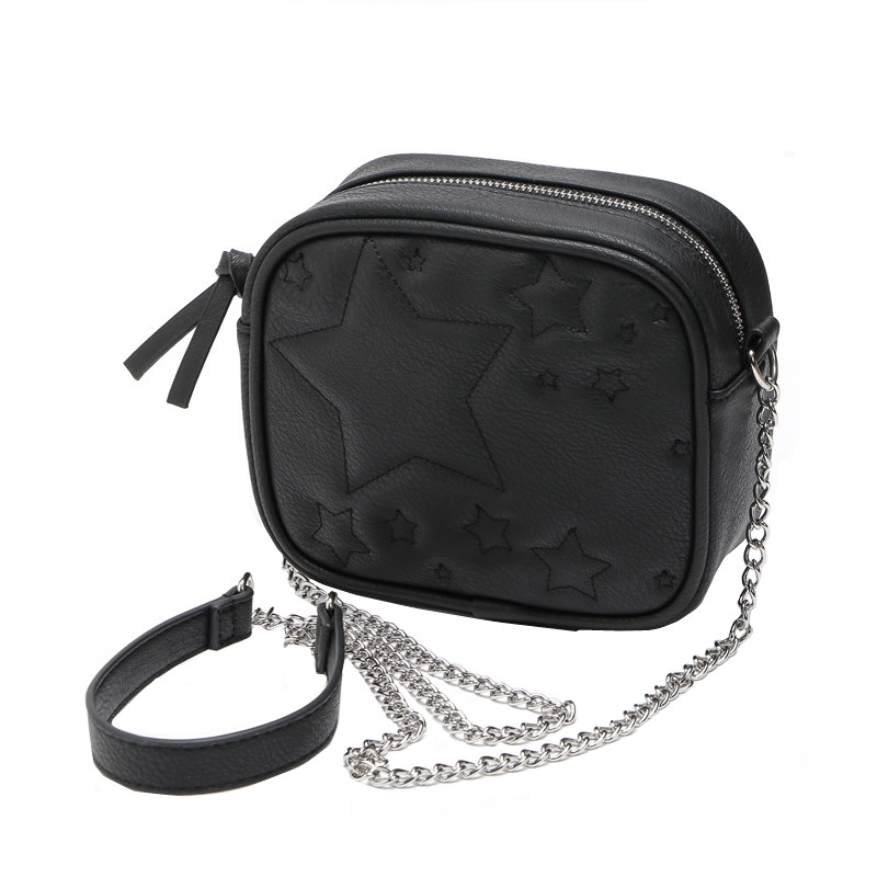 94581222c0 Stars Black PU Leather Quilted Small Shoulder Messenger Bag Chain Sling Bag  Crossbody Bags for Women Girls