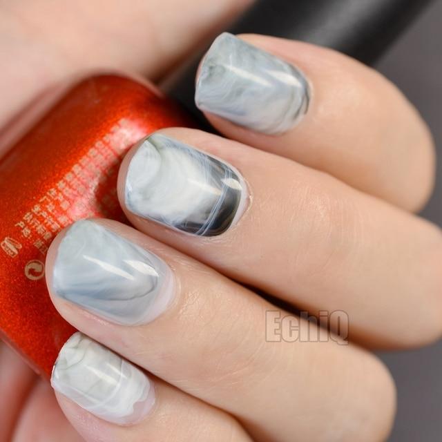 24pcs Kit Grey Marble Stones Design Acrylic Nails Short Full Wrap Round Fake Nail Tips