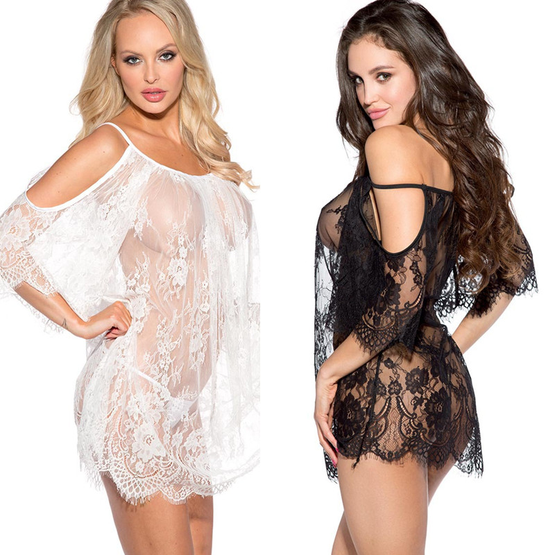 Slips Women Black White Eyelash Lace Leakage Shoulder Transparent Full Slips Hot Intimates Underwear