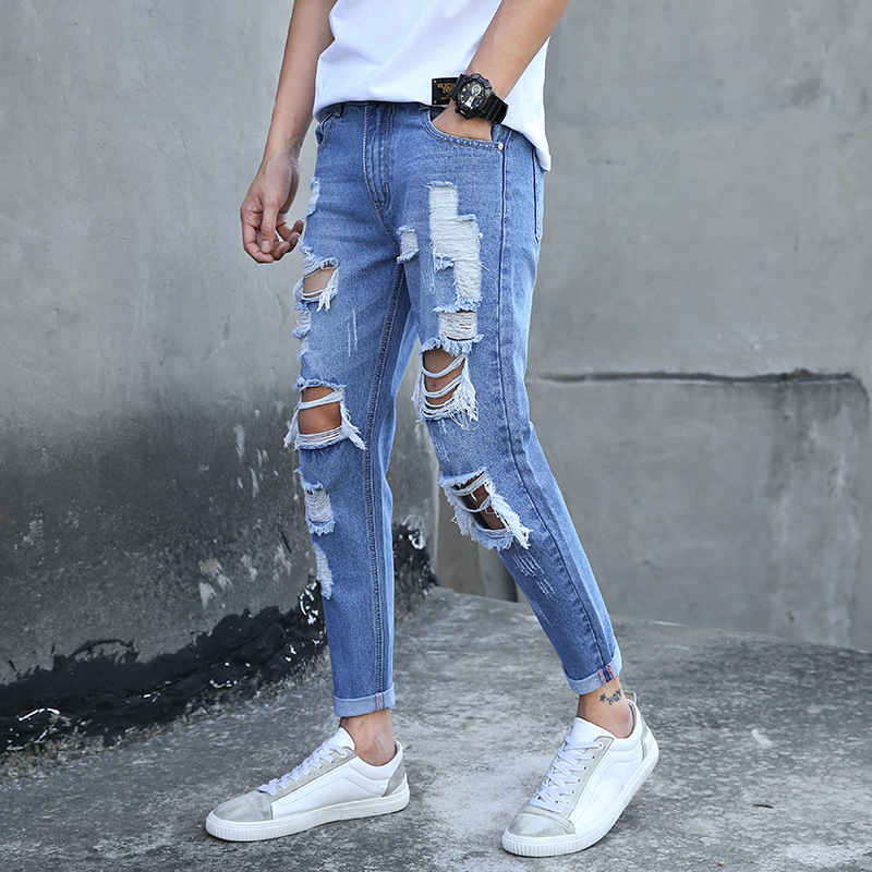 Personality extra hole men's   jeans   trend Korean version of male   jeans   ripped   jeans   for men man pants   jeans   MP426