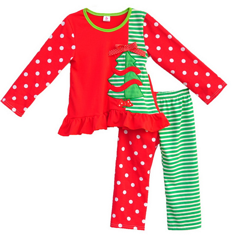 persnickety remake kids boutique outfits red patchwork christmas tree top polka dot stripes top girls winter clothing c027