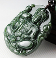 Natural 100% Real HeTian Jade hand-carved GuanYin Lucky Blessing Jade pendant necklace