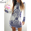 Chinese National Style Blue And White Porcelain Pattern Women Straight Dresses Long Sleeve Summer Girls Casual Dress Vestidos