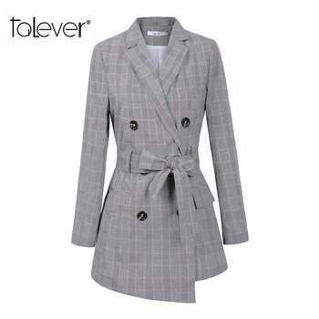 Irregular Hem Belt Plaid Slim Long Coat Jacket