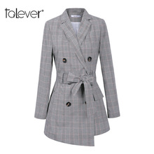 Women Casual OL Plaid Blazer Female Double Breasted Sashes Long Slim Jacket Coat Woomen's Casual Office Outwear Suit 5XL Talever