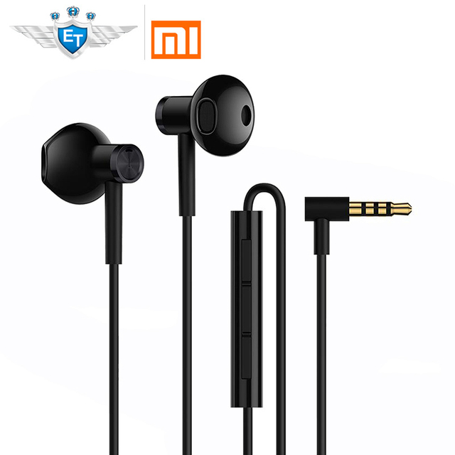 Original Xiaomi Hybrid DC Half-In-Ear Earphone Microphone Wire Control Dual Diver Horn L Shape Earphones for Android IOS System