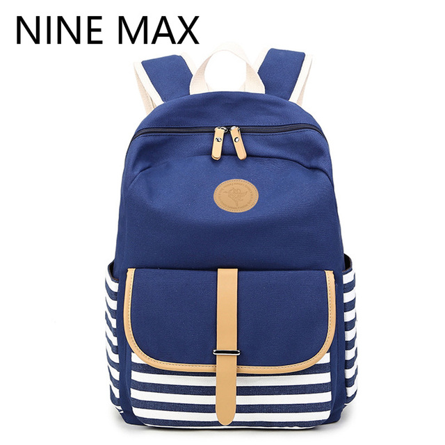 66fcd22298 New Arrival 2016 Preppy School Bags Backpack for Girls Teenagers Cute  Canvas Striped Women Backpack Female Escolar Mochilas